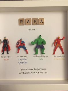 Ideal for dad brother friend son nephew husband. Fathers day/ birthday or Christmas gift Cute Gifts, Diy Gifts, Best Gifts, Handmade Gifts, Cards For Men, Hulk, Superhero Gifts, Party Signs, Handmade Birthday Cards