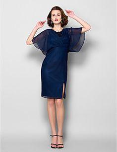 Sheath/Column V-neck Knee-length Chiffon Mother of the Bride... – CAD $ 125.09