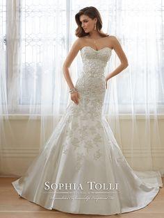 Sophia Tolli - Paris Satin with Beaded Lace motifs - Final Sale