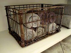 Vintage Borden Milk Crate for the bathroom!!