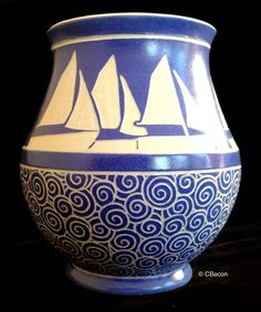 Sail on Rolling Seas Vase by C. Bacon