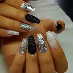 part 2 - diamond glitter, sliver glitter, shimmery black, silver and diamond glitter mix together, and black nails Black Nails With Glitter, Black Acrylic Nails, Silver Nails, White Nails, Acrylic Nail Designs Glitter, Gray Nails, Neutral Nails, Silver Glitter, New Years Nail Designs