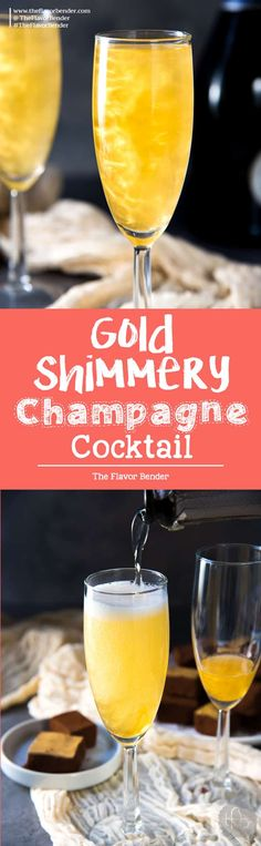 Gold Shimmery Champagne Cocktail - an easy Elderflower Champagne cocktail, New Year's Eve Drink that is perfect as any celebration cocktail.  via @theflavorbender