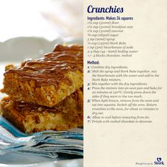 Crunchies #recipe Stork Bake=margarine/butter Candy Recipes, Baking Recipes, Cookie Recipes, Dessert Recipes, Desserts, Yummy Treats, Sweet Treats, Yummy Food, Stork Recipes