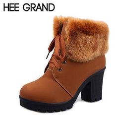 HEE GRAND Artificial Fur Ankle Boots Fashion Ladies Lace-Up Ankle Boot Warm Winter Boots High Heels Platform Shoes Woman XWX3289