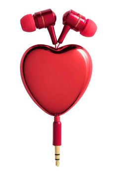 Headphones: Pull-out in-ear headphones in plastic with a heart-shaped hanger. Designed to fit mobiles with a 3.5 mm socket. Size 4.5x5 cm.