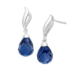 13 ct Ceylon Sapphire Drop Earrings with Diamonds in Sterling Silver #Jewelrycom #Drops