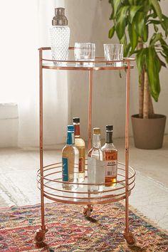 "$179 (orig $279), 28""H x 22""DIA, Copper/Glass Metal Bar Cart for Living Room"