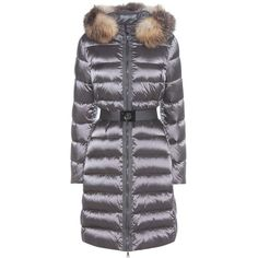 Moncler Tinuviel Down Coat With Fur (2,705 BAM) ❤ liked on Polyvore featuring outerwear, coats, grey, moncler coats, gray coat, grey coat, grey fur coat and fur coat