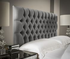 Chesterfield Upholstered Headboard by Sueno This beautifully handcrafted chesterfield headboard is made to order in Yorkshire, England. Choose from a range of luxurious fabrics to match your bedroom decor. Wall Mounted Headboards, Headboards For Beds, Upholstered Headboards, Fabric Headboards, Velvet Headboard, Sofa Design, Furniture Design, Padded Wall Panels, Headboard Designs