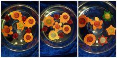 Floating Diwali diyas made from glitter foam and glitter tea light candles