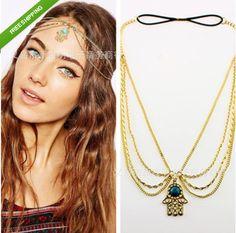 New Fashion Hair Accessories Flower Gothic Bohemian Boho Hair Crown Cuff Headband Headwrap Headdress Chain