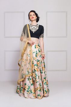Buy Black - Peach Floral Lehenga at Get latest Lehenga Choli for womens at Peachmode. Floral Lehenga, Lehenga Choli, Bridal Lehenga, Sabyasachi Lehengas, Sharara, Indian Attire, Indian Wear, Bride Indian, Indian Weddings