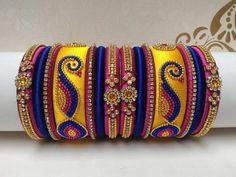 Silk Thread Earrings Designs, Silk Thread Bangles Design, Silk Thread Necklace, Silk Bangles, Bridal Bangles, Thread Jewellery, Jewelry Show, Jewelry Design, Silver Jewellery Indian