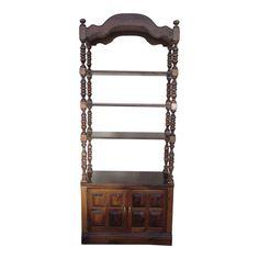 Ethan Allen Antiqued Pine Old Tavern Curio Boofshelf Table Furniture, Painted Furniture, Modern Furniture, Furniture Design, Wood Tavern, Bookcase Shelves, Custom Window Treatments, Dark Wax, Ethan Allen