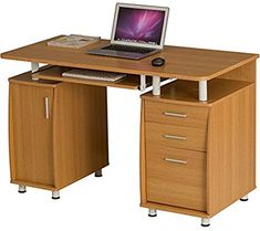 Large Computer and Writing Desk with Filing, 2 Stationery Drawers and Cupboard for the Home Office in Oak Effect - Piranha Furniture Emperor PC Space Saving Desk, Computer Equipment, Office Workstations, Office Desks, Home Desk, Wooden Desk, Home Office Design, Particle Board, Writing Desk