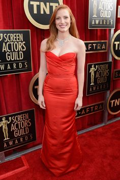 Jessica Chastain  SAG Awards red dress
