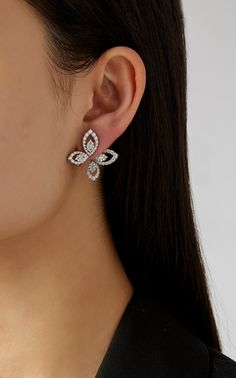 Yeprem 18K White Diamond Butterfly Earrings