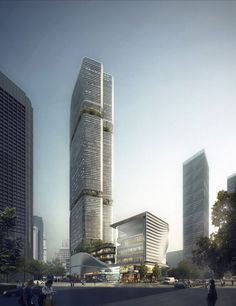 Aedas' new commercial complex in Shenzhen reveals Chinese bamboo totem. Designed by Aedas, Gmond International Building is a representative regeneration Office Building Architecture, Modern Architecture Design, Architecture Magazines, Commercial Architecture, Building Facade, Facade Design, Futuristic Architecture, Facade Architecture, Amazing Architecture