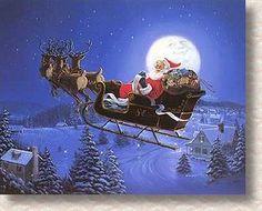 """Fantasy Flight"" by George Kovach ~ Santa, Christmas Eve, Magical Sleigh Ride"