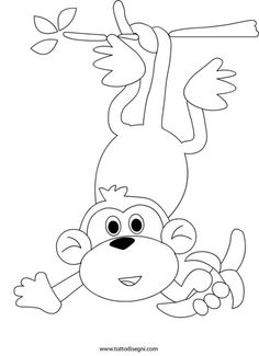 scimmia-banana Animal Coloring Pages, Colouring Pages, Coloring Sheets, Coloring Books, Colorful Drawings, Easy Drawings, Craft Activities, Preschool Crafts, Machine Embroidery Applique