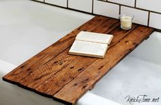 Make your own WOODEN BATHTUB TABLE, with this easy tutorial from Knick of Time. It costs pennies to make!