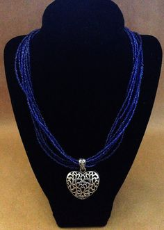 Royal Blue Seed Bead Multi-strand Necklace by AmethystGraceJewelry | $40