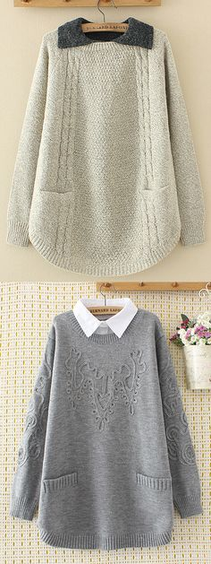 2018 New Trends Casual Pure Color Sweaters For Women. 2018 New Trends Casual Pure Color Sweaters For Women. Pullover Outfit, Look 2018, Plus Size Cardigans, Cool Outfits, Fashion Outfits, Knit Fashion, Sweater Fashion, Mode Style, Sewing Clothes