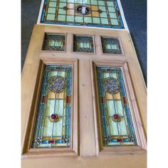 stained glass front entry door with side panels | GLASS FRONT DOORS : Victorian Edwardian 7 Panel Stained Glass Exterior ...