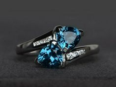 Trillion blue topaz ring love gemstone ring engagement ring 925 sterling silver #Affinity Erica Campbell, Blue Topaz Ring, Topaz Gemstone, Black Rings, Yellow Gold Rings, Rose Gold, Gemstone Engagement Rings, Gemstone Rings, Ring Engagement