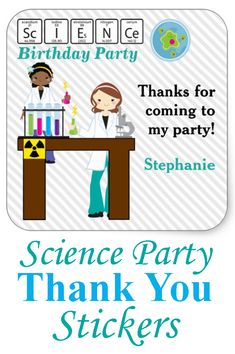 Have some fun with these science birthday party thank you stickers with adorable girls carrying beakers of colored liquids, test tubes and microscope on the table. #ad #science #scienceparty #thankyou #stickers