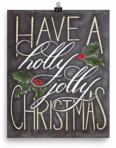 Chalkboard Have a Holly Jolly Christmas Art Print