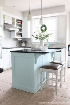 Kitchen Island Makeover with Beadboard - Hello amazing friends! Are ya'll ready for more kitchen progress? Today I am sharing how I gave - Painted Kitchen Island, Kitchen Island Makeover, Island Kitchen, Kitchen Island Remodel Ideas, Small Kitchen Islands, Diy Kitchen Cupboards, Kitchen Countertops, Kitchen Sink, Living Room Kitchen