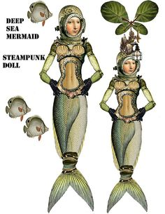Steampunk deep sea Mermaid paper doll articulated nautical paper doll just right for cards and display boxes craft project collage sheet - Paper Ideas Paper Puppets, Paper Toys, Steampunk Illustration, Paper Dolls Printable, Mermaids And Mermen, Up Book, Merfolk, Vintage Paper Dolls, Mermaid Art