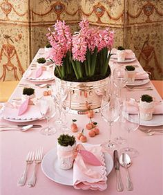 So pretty!  This would make a lovely bridal shower setting. The main centrepiece could then be divided in 3... then you, your mother, and future mother-in-law could have a living memory of your day.