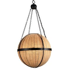 A three light orb chandelier is wrapped in Natural Burlap and banded with wrought iron finished in Black. The spherical pendant design of the Wiggins Orb Chandelier has a chain element from which the natural burlap ball diffuser is suspended. Decor, Home Lighting, Hanging Fixture, Orb Light, Modern Rustic, Transitional Chandeliers, Orb Chandelier, Home Decor, Ceiling Lights