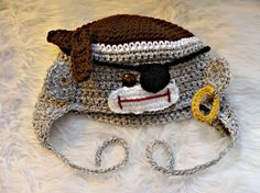 Pirate Sock Monkey Hat to crochet pattern by SandysCapeCodOrig, $4.95