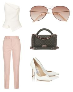 """Day at work"" by jaiilene ❤ liked on Polyvore featuring Escada Sport, Roland Mouret, Jimmy Choo, Chanel and H&M"