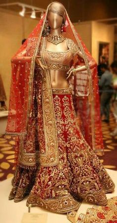 Indian Bridal Lehenga. Indian fashion.
