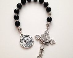 Firefighter Chaplet, Pocket Rosary, Saint Florian, Silver Crucifix, Catholic Rosaries, Prayer Beads, Religious Gift, Single Decade Rosary