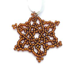 Bronze beaded snowflake Christmas decoration by BramalfieBeadsetc