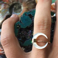 Mother of Pearl Crescent Moon Ring ~ Bella Beach Jewels  $62
