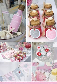 VALENTINES Printable Set: Message in a Bottle. Set includes Cupcake Toppers, Favor Tags, Bunting, Hersheys Dots and more