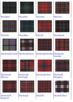 Macbean - my family tartan... I will incorporate this into my dress somehow. Jim's kilt may be made from the Macbean as well.