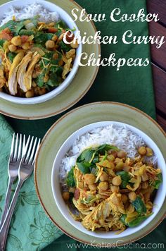 Slow Cooker Chicken Curry Chickpeas via KatiesCucina.com
