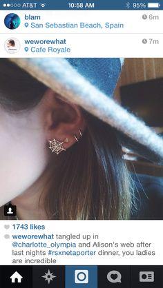 Spider web earring
