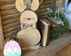 Wooden Bunnies, rustic wooden bunny, Easter decor, spring, Easter, spring decor, Easter bunny, log slice bunny, wood slice animal,