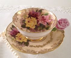 Rose Handled Paragon Tea Cup & Saucer from the 1940s