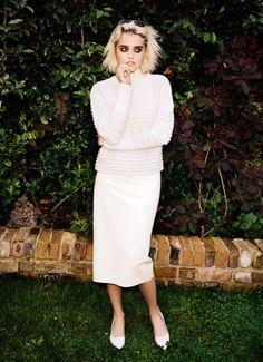 Sky Ferreira in Atsuko Kudo top & skirt, & Jimmy Choo shoes by Angelo Pennetta///i-D Pre-Fall 2013