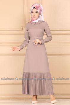 moda selvim Etek Ucu Piliseli Elbise 5021EF311 Vizon Hijab Dress, Dress Skirt, Abaya Fashion, High Neck Dress, Casual, Skirts, Gw, Collection, Color